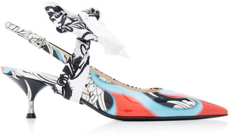 Prada Bow-Detailed Printed Leather Slingback Pumps