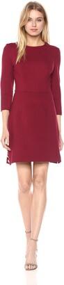 Trina Turk Women's Flush 3/4 Sleeve Ponte Dress with Gold Button Detail
