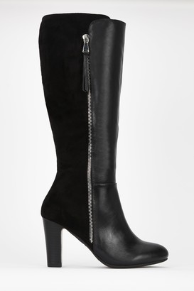 Wallis Black Side Zip High Leg Boot