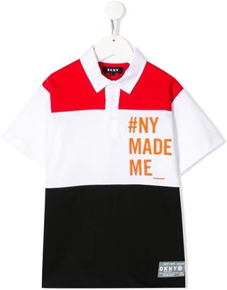 DKNY colour-block cotton polo shirt