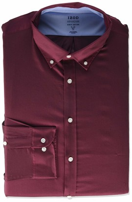 Izod Men's Dress Shirt Slim Fit Stretch FX Cooling Collar Solid