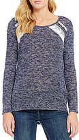 Moa Moa Crocheted-Trim Two-Tone Slub-Knit Long-Sleeve Tee
