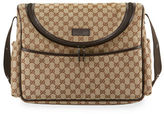 Gucci GG Canvas Leather-Trim Diaper Bag