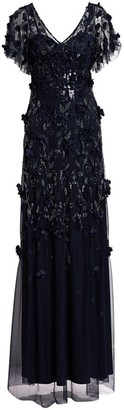 Theia Flutter Sleeve Floral Applique Gown