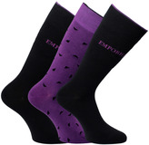 Emporio Armani 3 Pack Plum & Black Knitted Socks