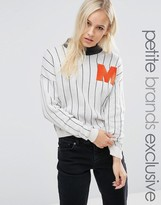 Noisy May Petite High Neck Logo Striped Sweater