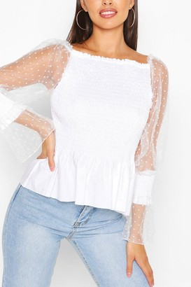 boohoo Shirred Dobby Sleeve Off The Shoulder Top
