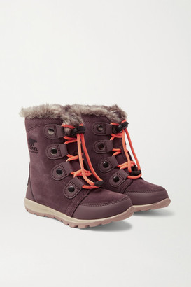 Sorel Whitney Faux Fur-trimmed Fleece-lined Suede Boots - Dark purple