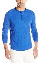 Jack Spade Men's Long Sleeve Henley Shirt with Woven Placket