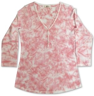 Style&Co. Style & Co Plus Size Tie-Dyed Waffle Henley Top, Created For Macy's