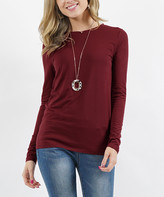 Lydiane Women's Tee Shirts DK - Dark Burgundy Crewneck Long-Sleeve Top - Women & Plus
