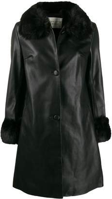 CHARLOTTE SIMONE faux fur trim coat