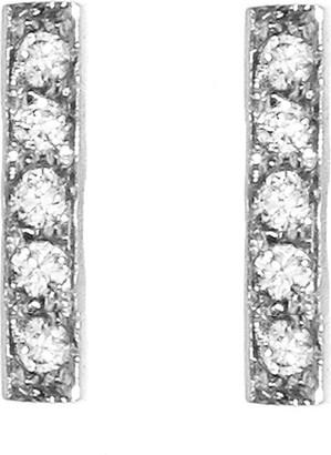 Jennifer Meyer Diamond White Gold Bar Stud Earrings