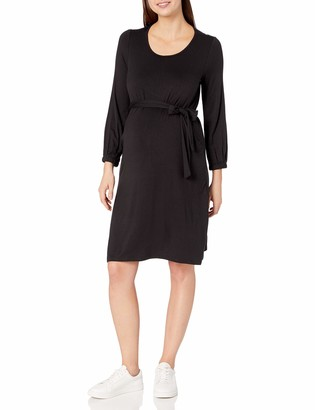Everly Grey Women's Alina Maternity and Nursing Long Sleeve Sash Tie Dress
