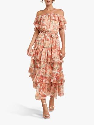 Forever New Becca Floral Print Bardot Ruffle Maxi Dress, Coral Sunrise