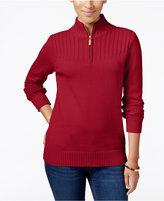 Karen Scott Petite Ribbed Zip-Neck Sweater, Only at Macy's