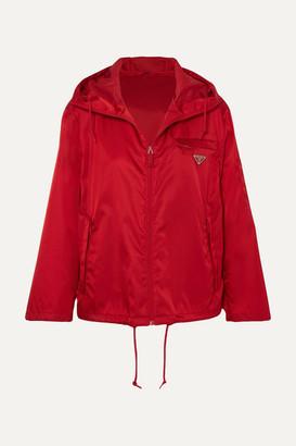 Prada Hooded Appliqued Shell Jacket - Red