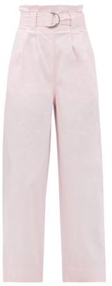 Ganni Paperbag-waist Cotton-blend Ripstop Trousers - Light Pink