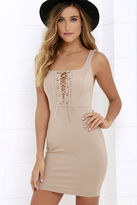 LuLu*s Quite Curious Ivory Lace-Up Dress
