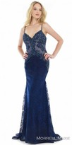 Morrell Maxie Scroll Beaded Trumpet Lace Evening Dress