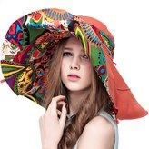 Yimidear Women Summer Beach Hat Ladies Bohemia Sun Hat Large Brim anti-UV hat Foldable Sunhat