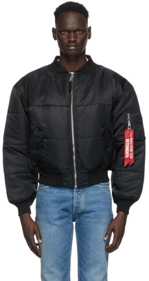 Vetements Reversible Black and Navy Patch Bomber Jacket