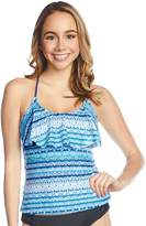 So Mix and Match Striped Flounce Tankini Top