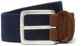 Anderson's - 3.5cm Navy Suede-trimmed Woven Elasticated Belt