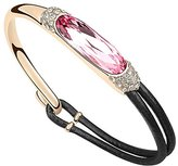 Acefeel Luxury Queen Bracelet Gold Plated Half Leather Rope Pink Crystal Made with Swarovski Elements B052