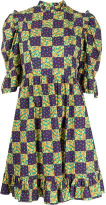 Batsheva checkered midi dress