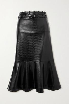 Palmer Harding Leuca Fluted Snake-effect Faux Leather Midi Skirt - Black