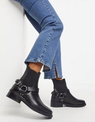 AllSaints Salmone leather riding boots with strap in black