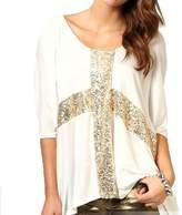 Estrendy Golden Sequins Loose T-shirt Top - M