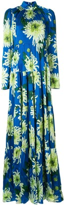Andrew Gn Floral Long-Sleeve Maxi Dress