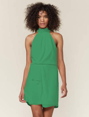 Halston Draped Mock Neck Dress