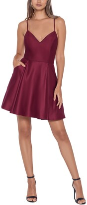 Blondie Nites Juniors' V-Neck Fit & Flare Dress