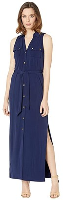MICHAEL Michael Kors Matte Jersey Sleeveless Maxi Shirtdress (True Navy) Women's Dress