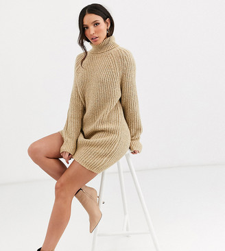 Asos Tall DESIGN Tall chunky mini dress with roll neck-Beige