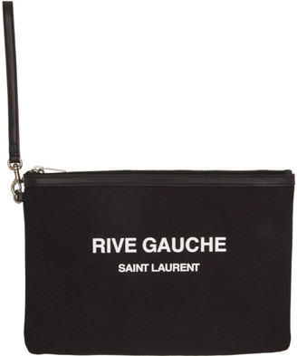 Saint Laurent Black Canvas Rive Gauche Pouch