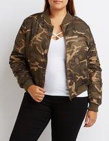 Charlotte Russe Plus Size Camo Bomber Jacket