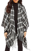 Westbound Sleeveless Open Front Fringe Herringbone Plaid Wrap