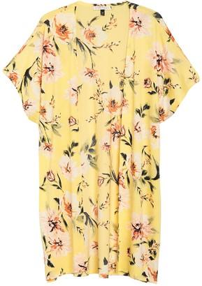 Planet Gold Floral Drop Shoulder Kimono