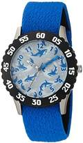 EWatchFactory Boy's 'Shark Week' Quartz Stainless Steel and Nylon Sport Watch, Color:Blue (Model: WDC000111)