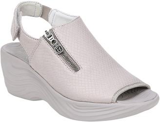BZees Quarter Strap Wedge Sandals with Zipper Detail - Ziplin