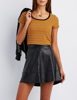 Charlotte Russe Striped Ringer Tee