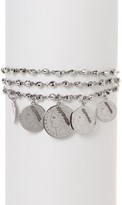 Dani G Jewelry Sterling Silver Triple Strand Graduating Coin Charm Bracelet