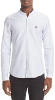 The Kooples Grosgrain Trim Fit Stripe Oxford Shirt