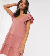Asos Tall DESIGN Tall v neck frill sleeve tiered smock dress in rose