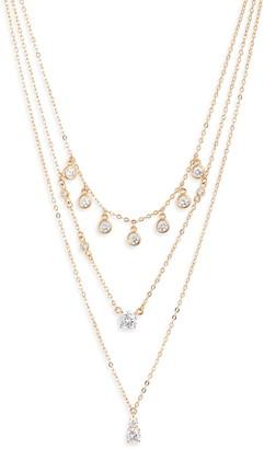 Nordstrom Shaker Crystal Triple Strand Necklace