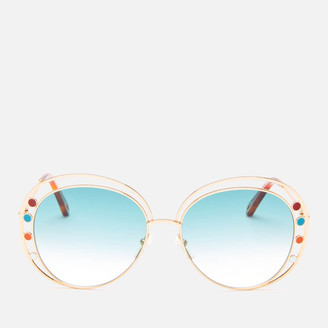 Chloé Women's Round Frame Sunglasses - Gold/Petrol